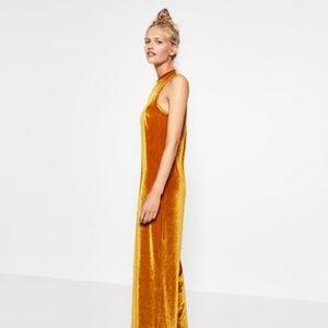 SALE   Zara Mustard Velvet Wide Leg Flare Jumpsuit
